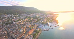 Aerial view of Neuchatel with a beautiful sunny day, Switzerland Stock Footage
