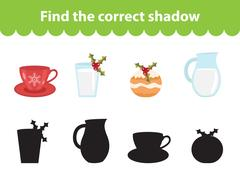 Children s educational game, find correct shadow silhouette. Vector illustration Stock Illustration