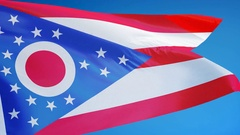 Ohio (U.S. state) flag in slow motion seamlessly looped with alpha Stock Footage
