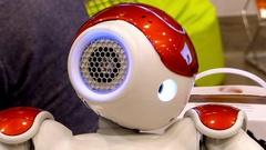 Humanoid Autonomous Robot Looking Around And Blinking Stock Footage