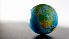 North America Earth Globe Ball Rolling Into And Out Of Focus Stock Footage