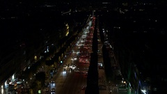 Champs-Elysees Paris, high view night traffic towards Concorde Stock Footage