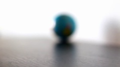 Arctic Ocean Earth Globe Ball Rolling Into And Out Of Focus Stock Footage