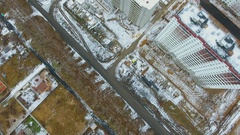 Construction of high-rise buildings in the winter. Stock Footage