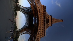 Vertical video of famous vertical architecture, Eiffel Tower Paris Stock Footage
