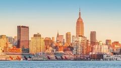 Super Moon rising above New York skyline Stock Footage