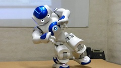 Humanoid Autonomous Robot Gesturing And Dancing Stock Footage