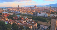 Aerial view of Romantic Florence, floating in the air color bubbles Stock Footage