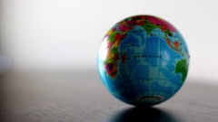 Indian Ocean Earth Globe Ball Rolling Into And Out Of Focus Stock Footage