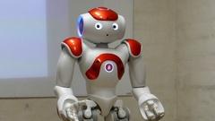 Humanoid Autonomous Robot Gesturing And Dancing Stock Footage