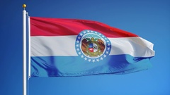 Missouri (U.S. state) flag in slow motion seamlessly looped with alpha Stock Footage
