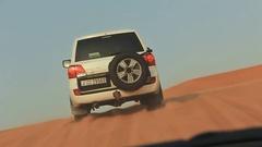 Desert Safari SUVs bashing through the arabian Stock Footage