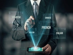 Businessman with Learn Indonesian languages using digital tablet Stock Footage