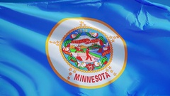 Minnesota (U.S. state) flag in slow motion seamlessly looped with alpha Stock Footage