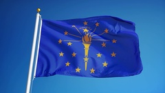 Indiana (U.S. state) flag in slow motion seamlessly looped with alpha Stock Footage