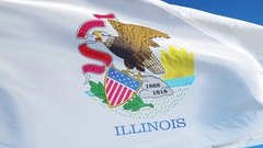 Illinois (U.S. state) flag in slow motion seamlessly looped with alpha Stock Footage
