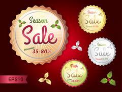 Badge season sale gold-silver-bronze Stock Illustration