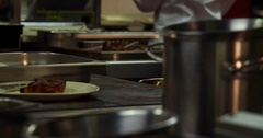 Restaurant professional kitchen interior 4k panorama video. Steel tables cooking Stock Footage