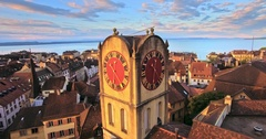 Aerial view of Vintage Bell-Tower in Neuchatel, Switzerland Stock Footage