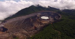 Aerial View of Poás Volcano Stock Footage