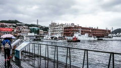 Panning view of the Keelung port in a rainy day, Taiwan. Stock Footage