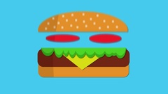 Beef burger appearing then eaten motion graphic keyable background blue Stock Footage