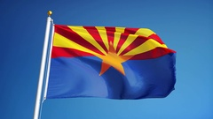 Arizona (U.S. state) flag in slow motion seamlessly looped with alpha Stock Footage