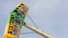 Extreme attractions in the park and entertainment for adults and children. Stock Footage