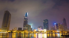 Deep night in Ho Chi Minh City. Skyscrapers sleep  Stock Footage