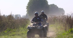 Quadcross, All terrain vehicles, ATV race on a dike in The Netherlands Stock Footage