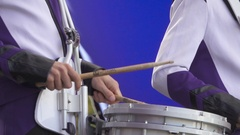 SAMARA, RUSSIA - SEPTEMBER 25, 2016 Close up of  Man playing a drum. Stock Footage