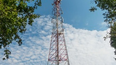 Communications tower timelapse with sky and cloud background Stock Footage