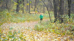 Sport Man jogging cross country running. Stock Footage