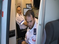 Control paramedics work in strategic Ambulance during fires in Haifa, Israel. Stock Footage