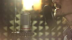 Man singing in the Studio Stock Footage