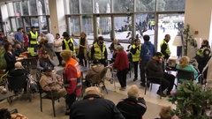 Elderly people evacuated by police and taken to public shelters in Haifa, Israel Stock Footage