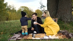 Family picnicking in the park Stock Footage