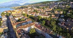 Aerial view of Neuchatel with beautiful sunny day,SWITZERLAND Stock Footage