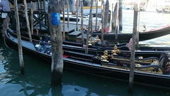 Gondolas wallow in Grand Canal Stock Footage