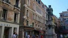 Statue of the italian writer Carlo Goldoni. Back view Stock Footage