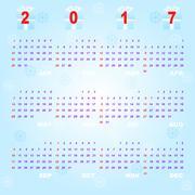 Created blue bokeh vector template of 2017 calendar Stock Illustration