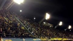 La Bombonera Stadium and Public at Night Stock Footage