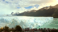 Perito Moreno Glacier and Tourists Stock Footage
