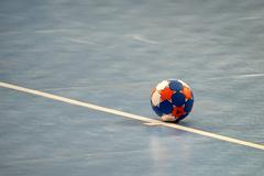 Handball ball on field Stock Photos