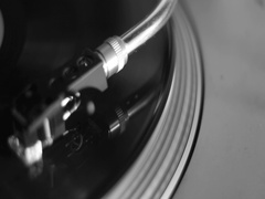 Turntable tonearm and cartridge in black and white Stock Footage
