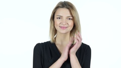 Young Woman  Clapping, White Background Stock Footage