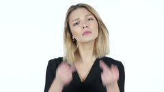 Angry Young Woman shows Middle Finger, White Background Stock Footage