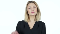 Young Woman Showing Ok Sign, White Background Stock Footage