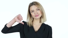 Thumbs Down By Young Woman, White Background Stock Footage
