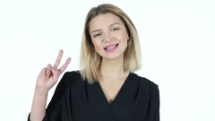Young Woman Showing Victory Sign, White Background Stock Footage